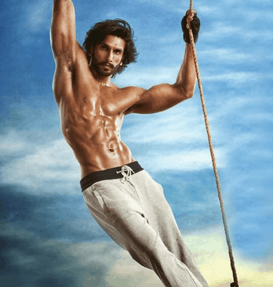 ranveer singh stunts with muscular body