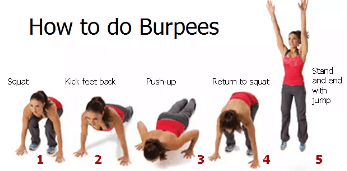 how to do burpees, fitness exercises