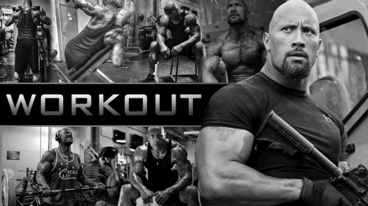 best workout pics of dwayne johnson