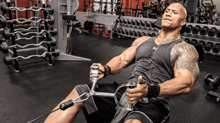 dwayne johnson gym routine and body pics