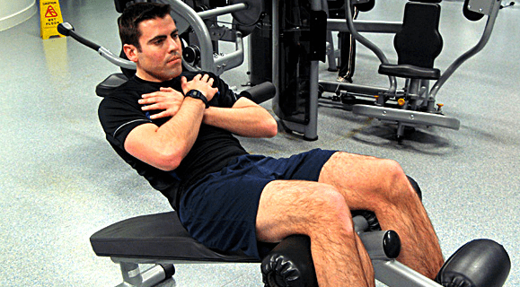 sit ups with hands on chest