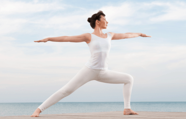 warrior yoga pose for weight loss and back fitness