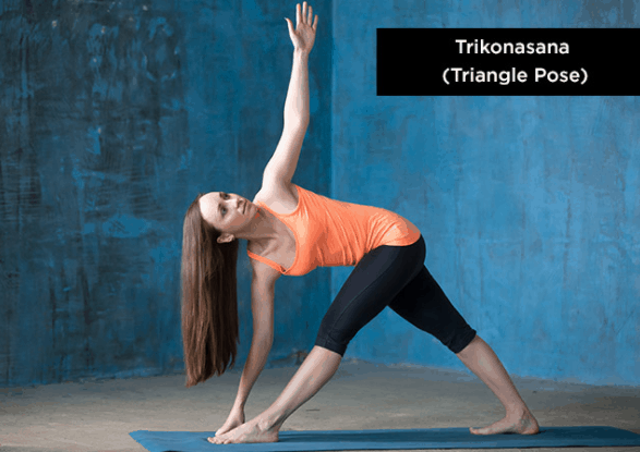 yoga asanas for weight loss, triangular pose, trikona asana